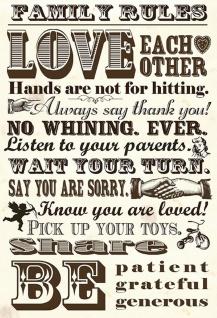 Blechschild Spruch Family Rules - Love Each Metallschild Wanddeko 20x30 tin sign