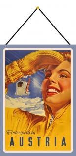 Blechschild Nostalgie Reklame Wintersports in Austria Deko 20x30 mit Kordel