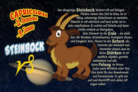 Steinbock Capricorn sternzeichen tierkreis... lustig blechschild comic