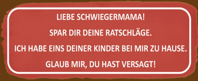 Blechschild Spruch Liebe Schwiegermama Spar dir deine Ratschläge? Metallschild 27x10 cm Wanddeko tin sign