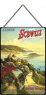 Blechschild Schweiz Jura Route Metallschild Deko 20x30 tin sign mit Kordel
