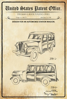 US Patent Office - Design for An Automobile Station Wagen - Entwurf für ein Kombi - Roos, Ohio, 1948 - Design No 148.579 - Blechschild
