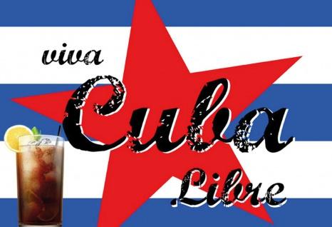 Blechschild Alkohol Viva Cuba Libre mit Flagge Metallschild Wanddeko 20x30 cm tin sign