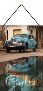 Blechschild Cuba blaues Oldtimer Auto Metallschild Deko 20x30 mit Kordel