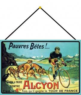 Blechschild Fahrrad Alcyon Tour de France Metallschild Wanddeko 20x30 mit Kordel