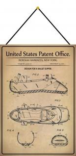 Blechschild Patent Entwurf für einen Ballettschuh Metallschild 20 x 30 m.Kordel
