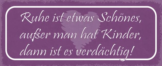 Blechschild Spruch Ruhe ist etwas Schönes, außer man hat Kinder, dann ist es verdächtig! Metallschild 27x10 Deko tin sign
