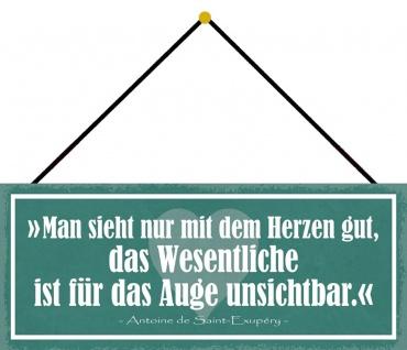 Schatzmix Blechschild Spruch Man sieht nicht nur mit dem Herzen Wanddeko 27x10 mit Kordel