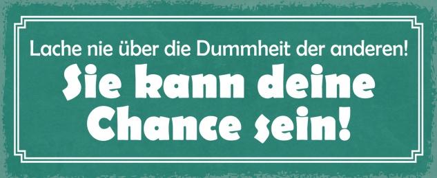 Blechschild Spruch Lache nie über die Dummheit der anderen Metallschild Wanddeko 27x10 cm tin sign