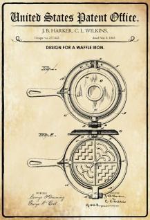 Blechschild Patent Entwurf für ein Waffeleisen-Harker Metallschild Wanddeko 20x30 cm tin sign