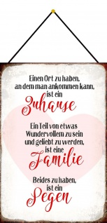 Blechschild Spruch Zuhause, Familie, Segen Metallschild 20x30 Deko m. Kordel