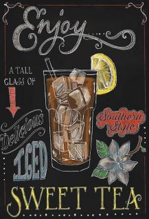 Sweet Iced Tea Southern Style schwarze hintergrund blechschild