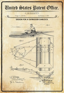 Blechschild Patent Entwurf für ein Ruderboot- Schiff Metallschild Wanddeko 20x30 cm tin sign