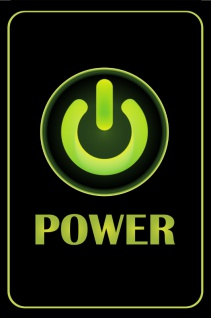 Blechschild Power Taste grün Metallschild Wanddeko 20x30cm tin sign