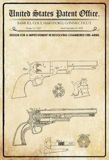 Blechschild Patent Entwurf für Revolverkammern-Colt Metallschild Wanddeko 20x30 cm tin sign