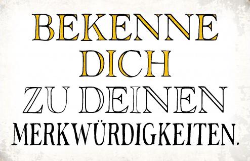 Blechschild Spruch Bekenne Dich Metallschild Wanddeko 20x30 cm tin sign