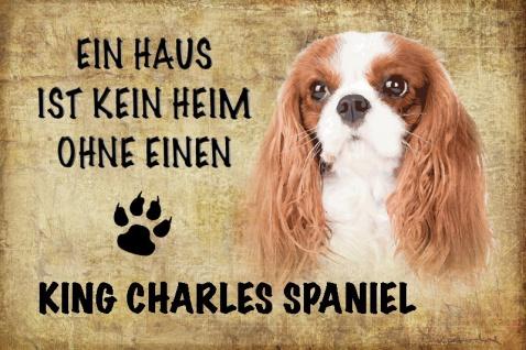 Ein haus ist kein heim ohne einen King Charles Spaniel Cavalier hund blechschild