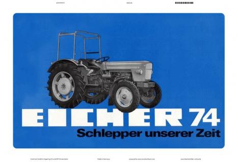 Eicher 74 PS schlepper traktor trekker blechschild