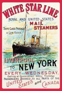 Blechschild Nostalgie Mail Steamers Liverpool to NY Metallschild Wanddeko 20x30 cm tin sign