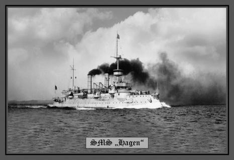 Retro: SMS Hagen Kriegsschiff Metallschild Wanddeko 20x30 cm tin sign