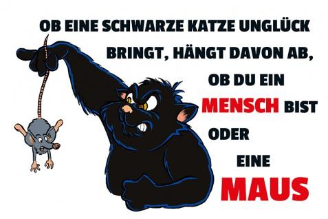 """"""" Ob eine schwarze Katze Unglück bringt?"""" blechschild, lustig, comic, metallschild"""