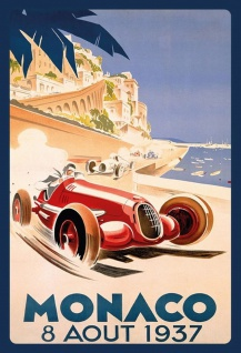Retro: Monaco 1937 Grand Prix Metallschild Wanddeko 20x30 tin sign