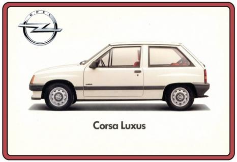 Opel Corsa Luxus weiß auto blechschild