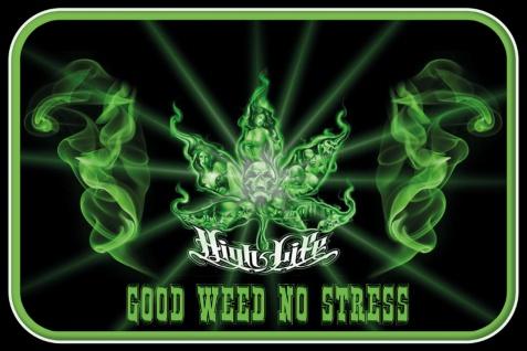 Schatzmix Blechschild High Life Good Weed No Stress Metallschild 20x30 cm Wanddeko tin sign
