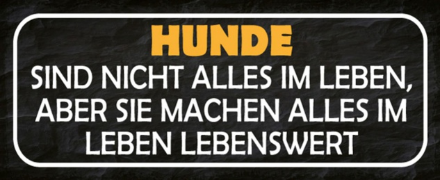 Blechschild Spruch Hunde Leben Lebensswert Metallschild 27x10 cm Wanddeko tin sign