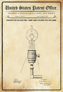 Blechschild Patent Entwurf elektrische Lampen-Halter Metallschild Wanddeko 20x30 cm tin sign