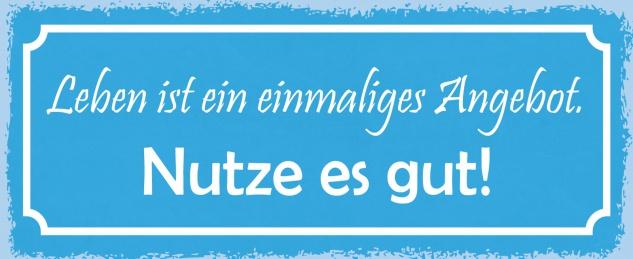 Blechschild Spruch Leben ist ein einmaliges Angebot! Nutze es gut! Metallschild 27x10 Deko tin sign