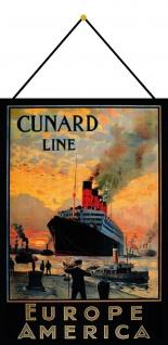 Blechschild Nostalgie Steamship Europe to America Deko 20x30 cm mit Kordel