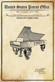 US Patent Office - Design for a Grand Piano- Entwurf für einen Konzertflügel -1939 - Gugler - Design No 113631 - Blechschild