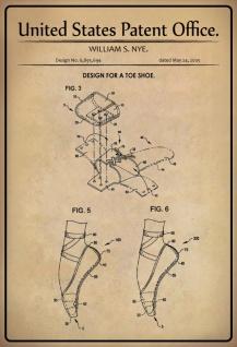 Blechschild Patent Entwurf für ein Zehenschuh-Nye Metallschild Wanddeko 20x30 cm tin sign
