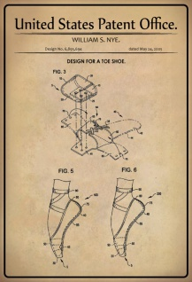 US Patent Office - Design for a Toe Shoe - Entwurf für ein Zehenschuh - Nye, 2005 - Design No 6.895.694 - Blechschild