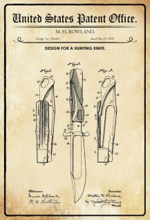 US Patent Office - Design for a Hunting Knife - Entwurf für einen Jagdmesser - Rowland - Design No 728416 - 1903 - Blechschild
