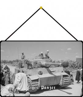 Blechschild Tiger Panzer (in Afrika) Metallschild Wanddeko 20x30 mit Kordel