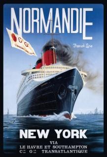 Blechschild Nostalgie Dampfschiff Normandie Metallschild Wanddeko 20x30 cm tin sign