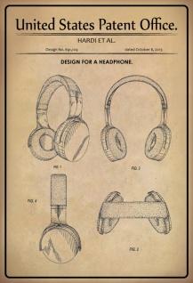 Blechschild Patent Entwurf für ein Kopfhörer- Hardi Metallschild Wanddeko 20x30 cm tin sign