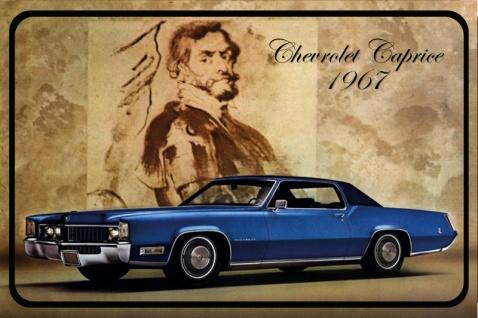 Chevrolet Caprice 1967 Auto reklame, blechschild, blau, USA