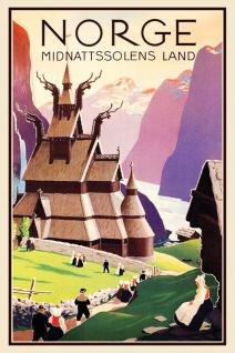 Norge Midnattssolens Land Blechschild 20x30 cm