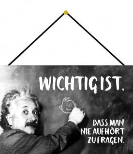 Blechschild Spruch Wichtig ist dass man Einstein Metallschild 20x30 cm m. Kordel