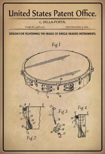 US Patent Office - Design for Tightening the heads of a singe head instrument - Entwurf für Anziehen der Köpfe eines einzelnen Kopfinstruments - Della-Porta - 1969 - Design No 3.482479 - Blechschild