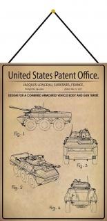 Blechschild Patent Entwurf für einen Geschützturmwagen Deko 20 x 30 m.Kordel