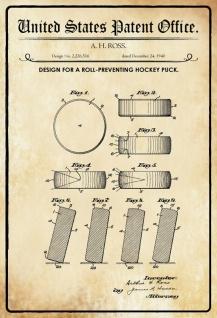 US Patent Office - Design for a Roll-Preventing Hockey Puck - Entwurf für einen Roll verhindernden Hockey Puck - Ross - Design No 2.226516 - 1940 - Blechschild