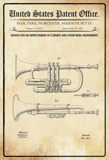 Blechschild Patent Entwurf für Blasinstrumenten-Fiske Metallschild Wanddeko 20x30 cm tin sign