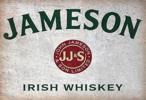 Jameson Irish Whiskey flaschen etikett alkohol blechschild