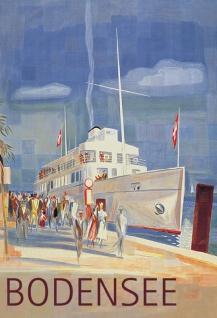 Nostalgie: Bodensee Schweiz Schiff Blechschild 20x30 cm