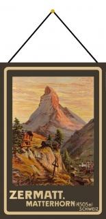 Blechschild Nostalgie Zermatt Matterhorn Metallschild Wanddeko 20x30 mit Kordel