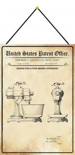 Blechschild Patent Entwurf für ein Rührgerät Metallschild 20 x 30 m.Kordel